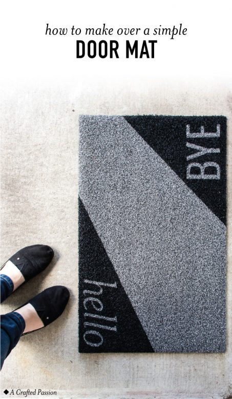 DIY minimalist geometric doormat with letters (via acraftedpassion.com)