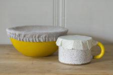 DIY reusable bowl covers of beeswax fabric