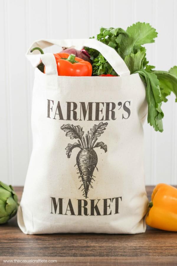 DIY market tote with a print (via www.purelykatie.com)