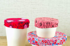 DIY fabric bowl wraps with elastics