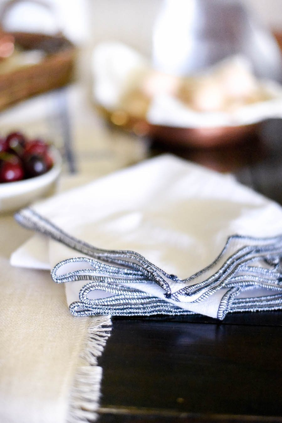DIY fabric towels with a colorful edge