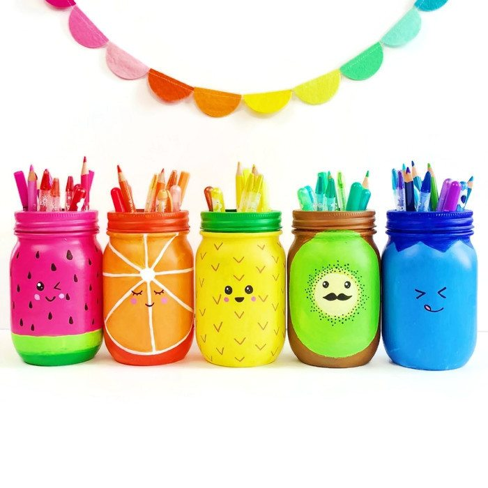 DIY fruity mason jar pencil holders (via colormadehappy.com)