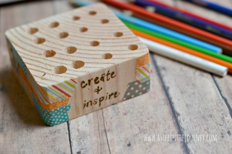 DIY wood block pencil holder with colorful washi tape (via astepinthejourney.com)