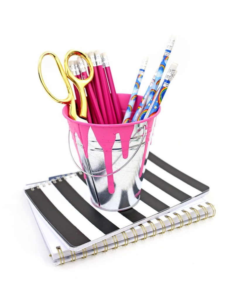 DIY messy painted bucket pencil holders (via www.linesacross.com)