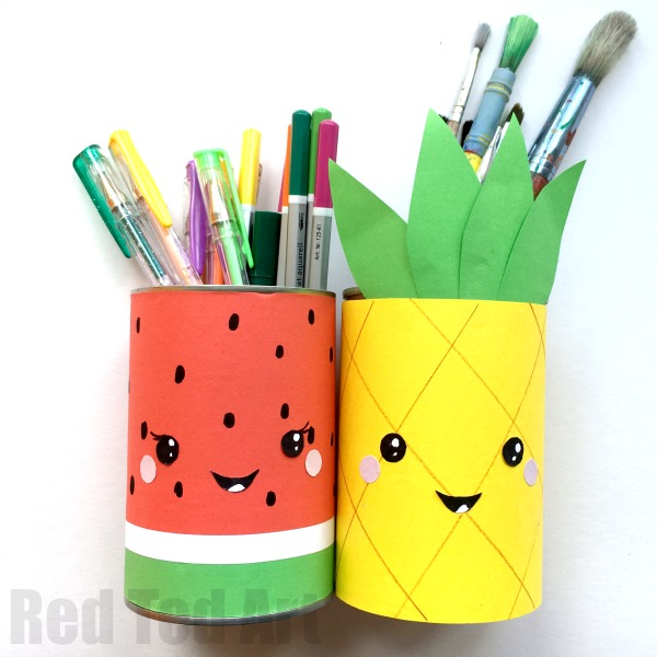 DIY fruity pencil holders of paper and tin cans (via www.redtedart.com)