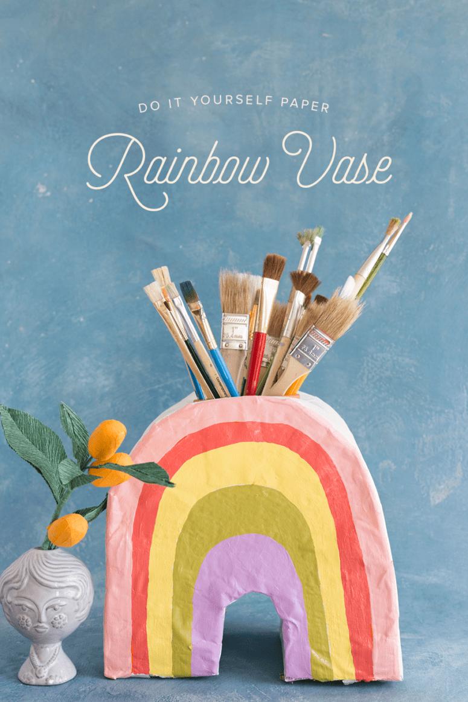 DIY paper mache rainbow pencil holder (via thehousethatlarsbuilt.com)