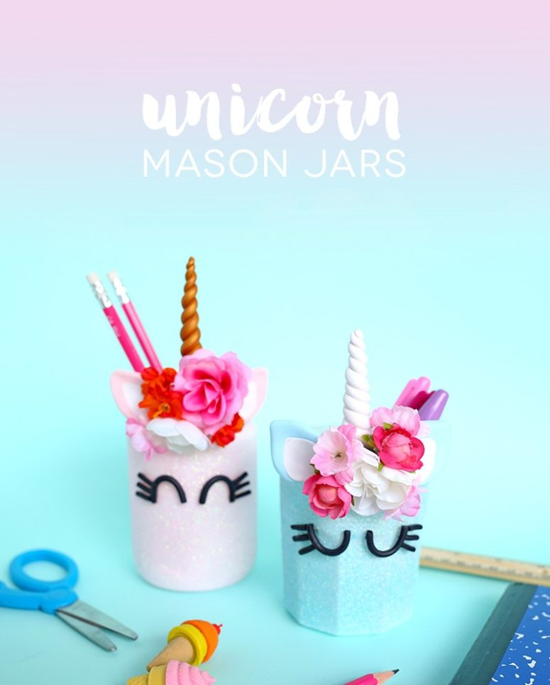 DIY unicorn pencil holders with flower crowns (via www.linesacross.com)