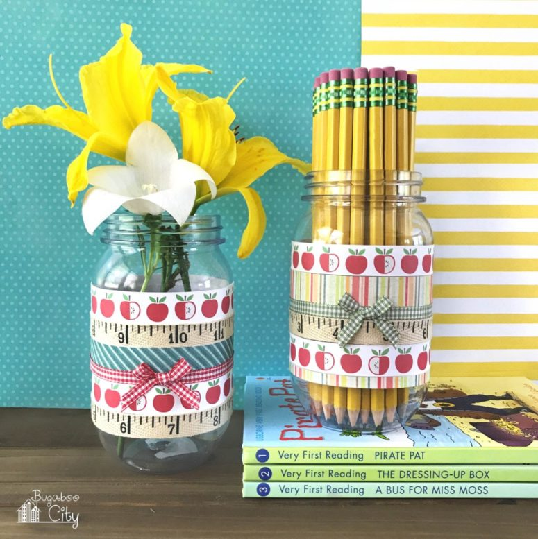 DIY back to school pencil holder with apple print paper (via www.bugaboocity.com)