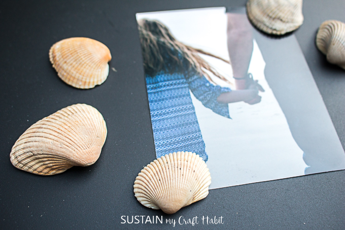 DIY sea shell fridge magnets