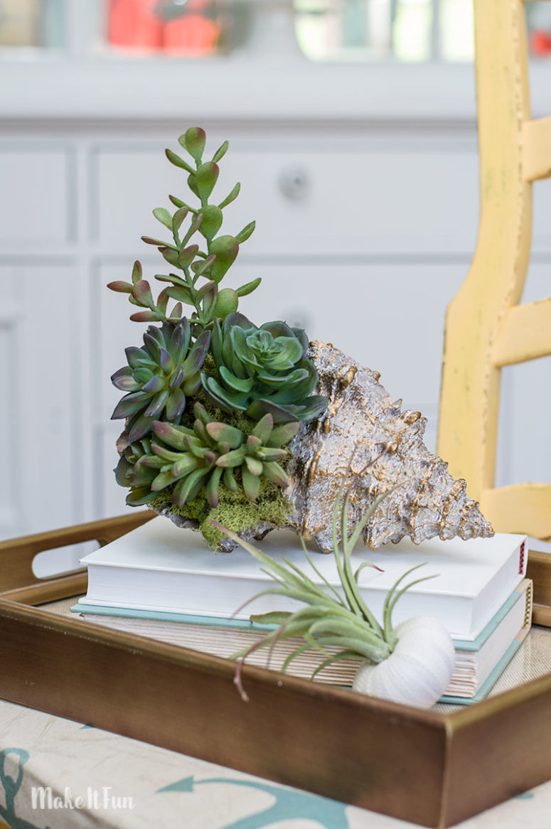 DIY 10-minute seashell succulent arrangement (via www.craftsbycourtney.com)