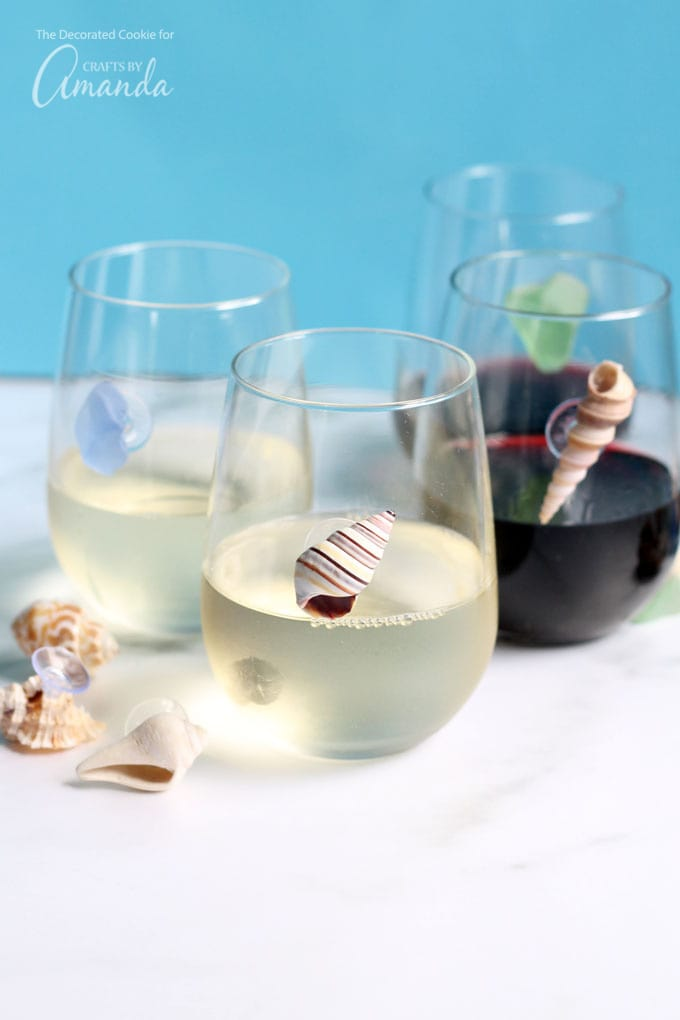 DIY sea shell wine glass charms for parties (via craftsbyamanda.com)