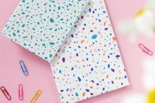 DIY colorful terrazzo notebooks