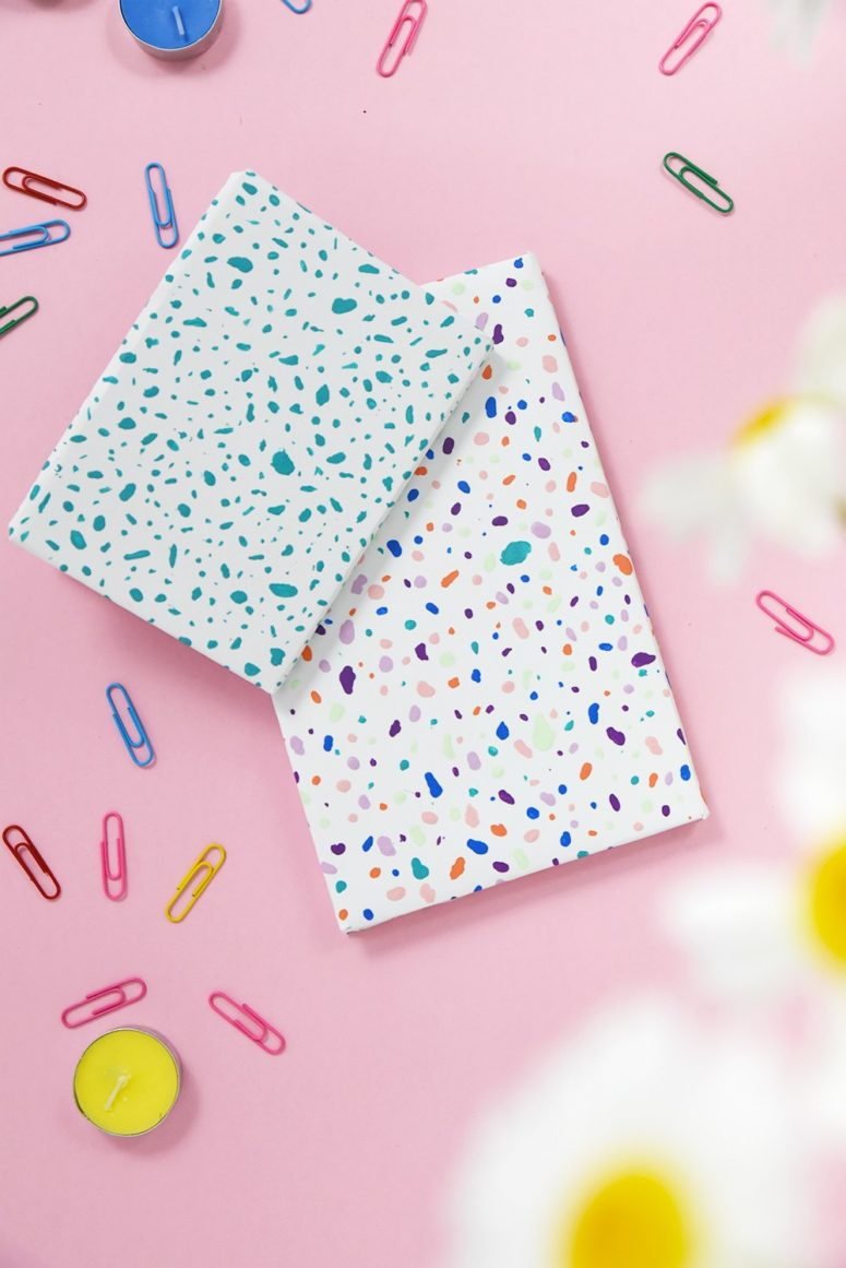 DIY colorful terrazzo notebooks (via enthrallinggumption.com)