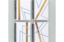DIY geometric ribbon notebooks with rhinestones