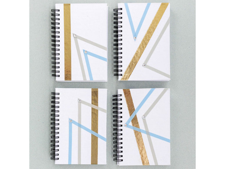 DIY geometric ribbon notebooks with rhinestones (via www.fun365.orientaltrading.com)