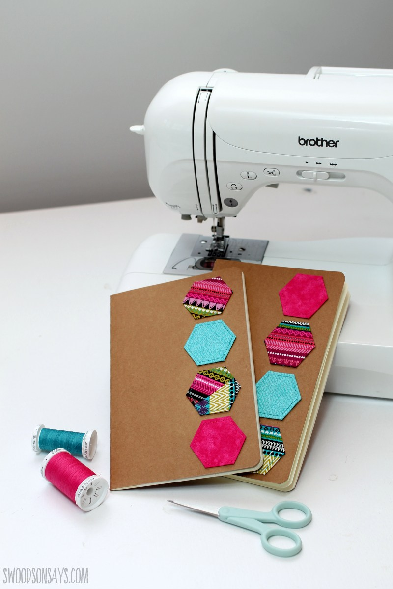 DIY colorful hexagon stitched notebooks