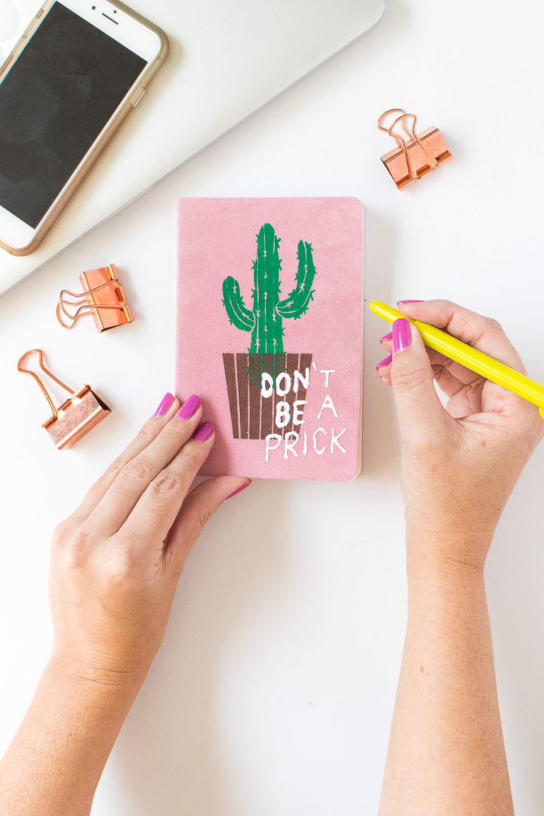 DIY fabric notebook with a cactus print (via www.clubcrafted.com)