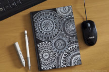 DIY black and white mandala notebook