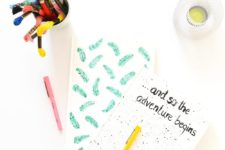 DIY painted and stenciled notebooks