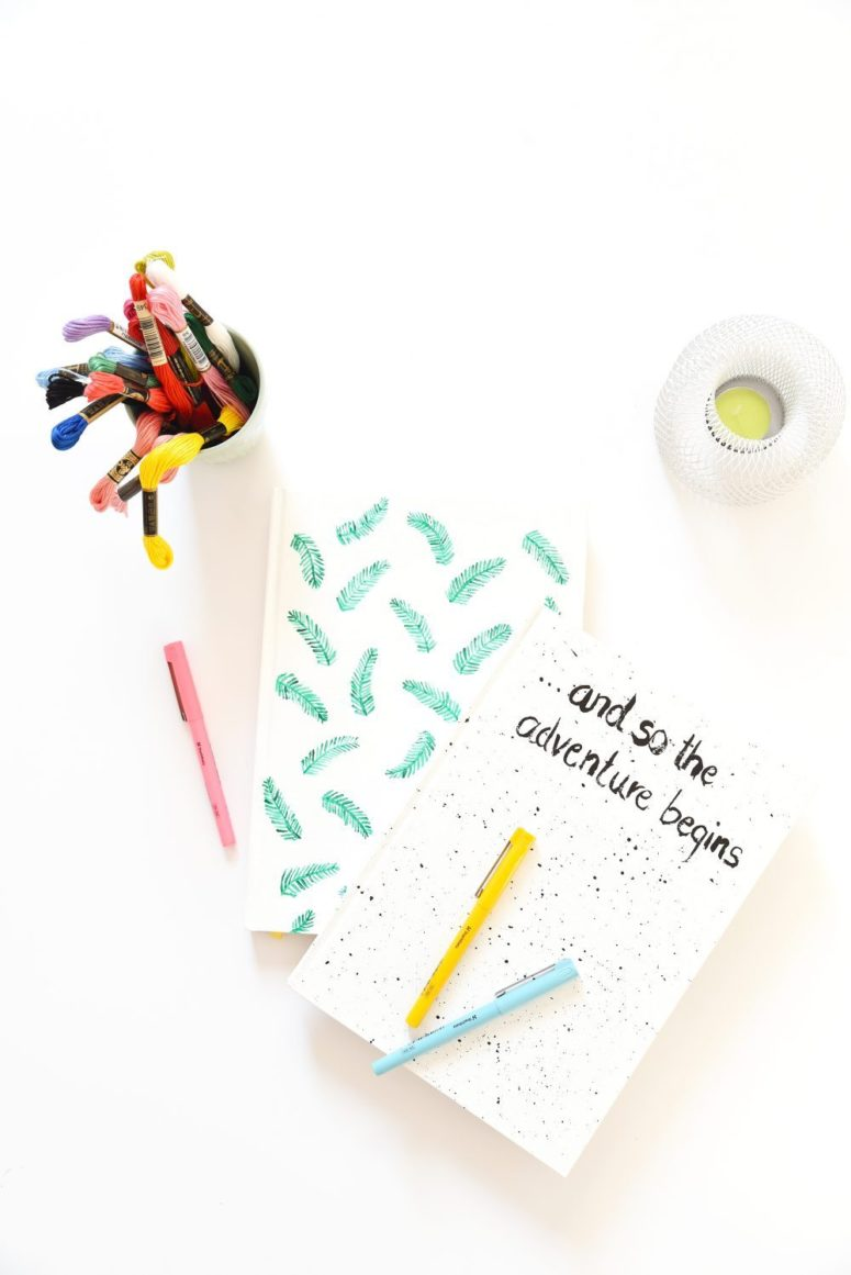 DIY painted and stenciled notebooks (via enthrallinggumption.com)