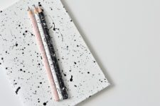 DIY paint splatter notebooks and pencils