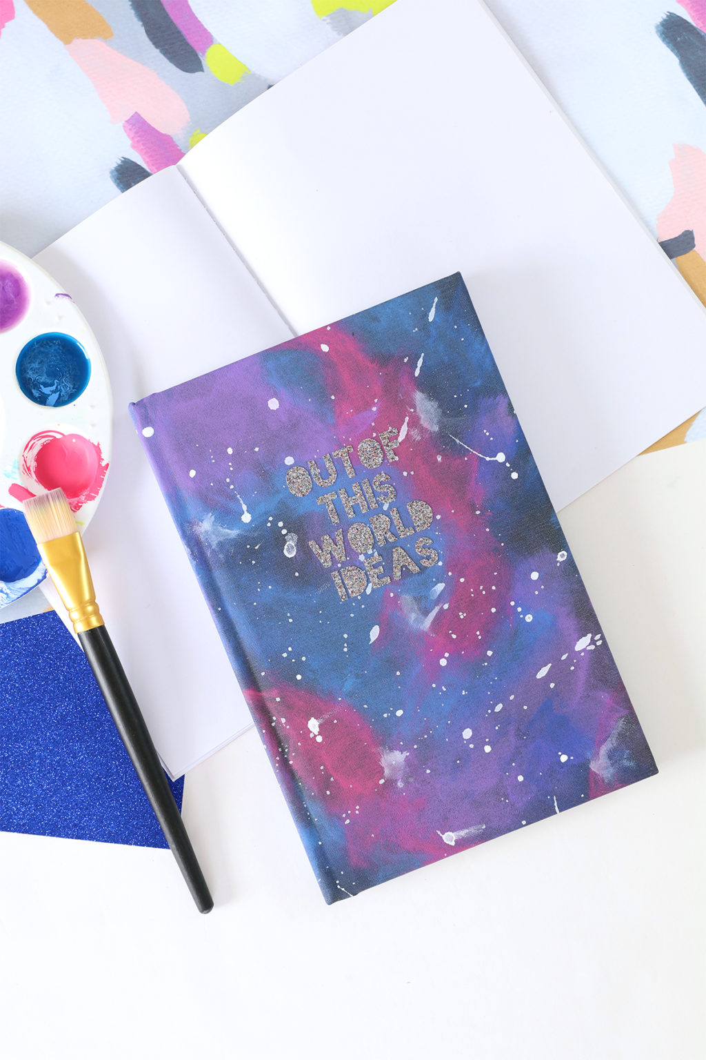 DIY galaxy painted notebook with glitter letters