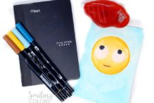 DIY watercolor painted emoji notebooks