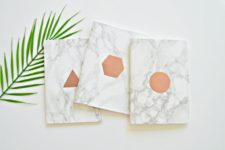 DIY graphic copper and marble notebooks
