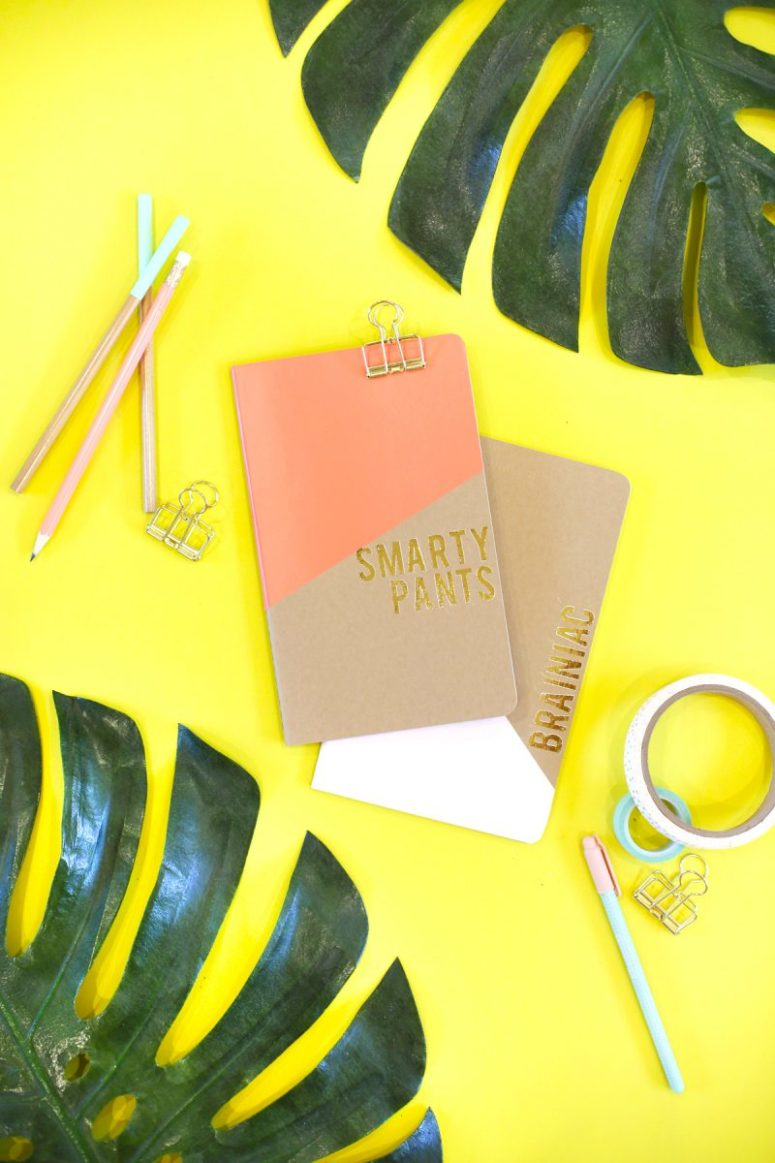 DIY gold foil and adhesive vinyl notebooks (via lovelyindeed.com)