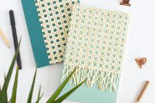 DIY cane webbing notebook