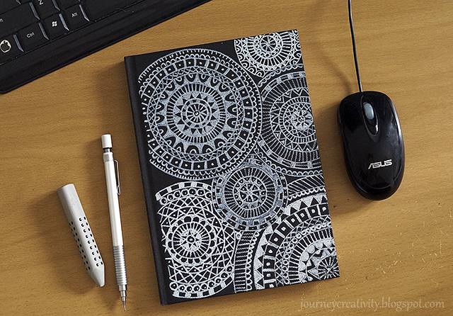 DIY black and white mandala notebook (via journeycreativity.blogspot.com)