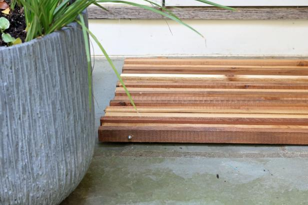 DIY wood slat doormat