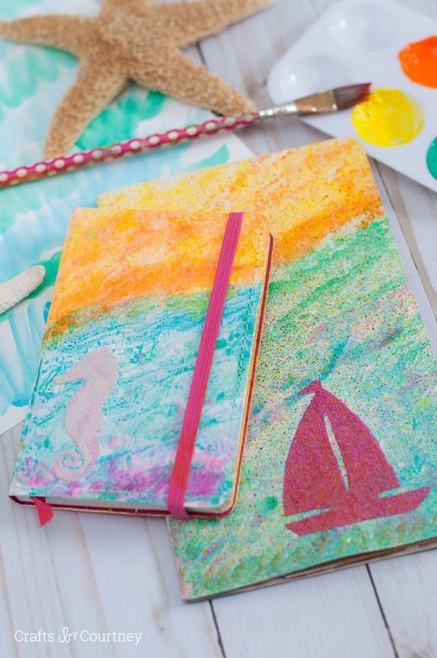 DIY colorful gradient beach travel journals (via www.craftsbycourtney.com)