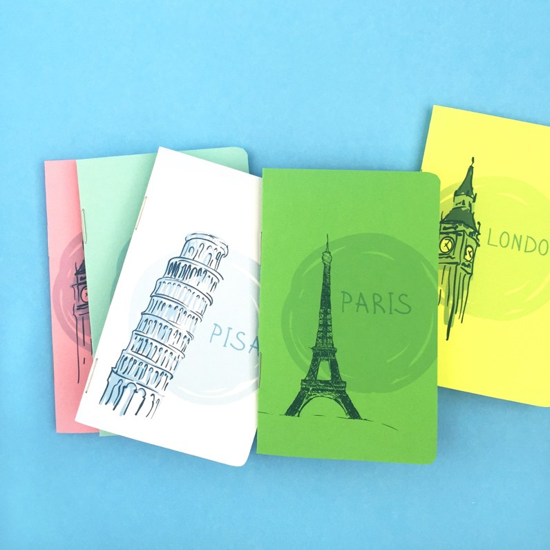 DIY watercolor inspired travel journals with city names