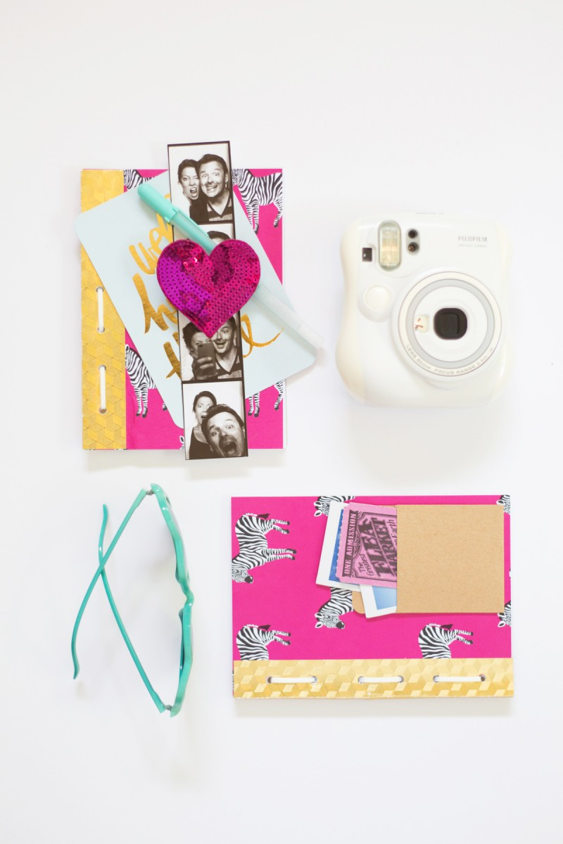 DIY colorful glam travel journal with zebras