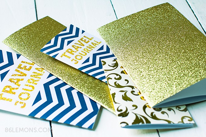 DIY travel journals in navy chevron and gold glitter (via 86lemons.com)