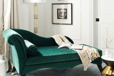 03 a bold emerald velvet daybed with such refined lines and shapes for a wow effect