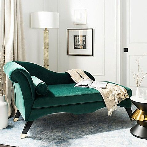a bold emerald velvet daybed with such refined lines and shapes for a wow effect