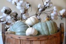 03 a bushel basket with white and green pumpkins and cotton branches for a neutral look