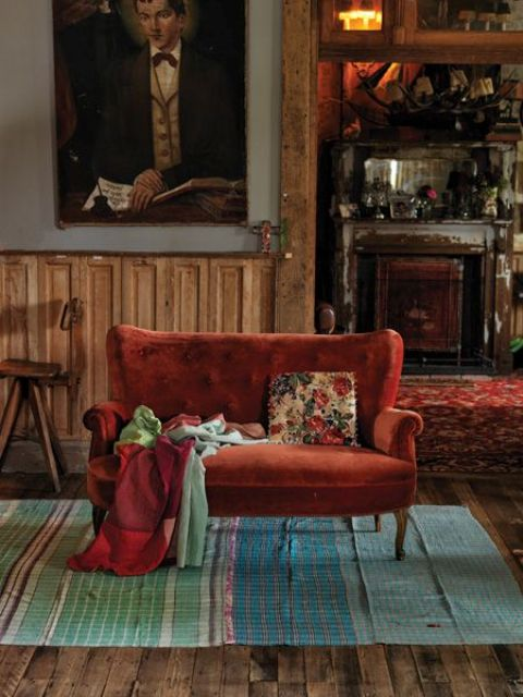 a refined rust velvet couch is a way to add chic to your space and bring some color at the same time