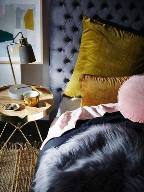 mustard pillows, a pink one and a faux fur throw will add texture and comfort to your bed without being too traditional