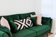 04 a bold emerald sofa with blush and printed pillows for a bright statement