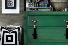 05 a bright emerald dresser with tassel pulls – just repaint an old dresser, it's an easy project