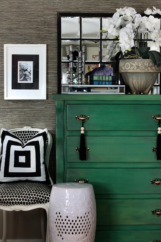 a bright emerald dresser with tassel pulls - just repaint an old dresser, it's an easy project