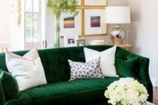 06 a cozy and bold emerald velvet sofa refreshed with white pillows