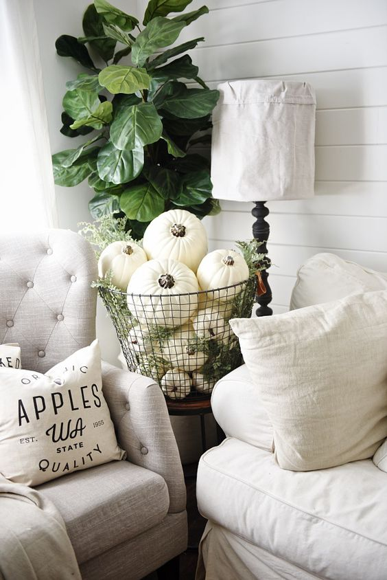 a metal wire basket fulled with white pumpkins and greenery for a vintage-inspired space