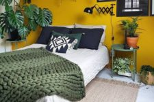 06 accent your headboard wall with the refined mustard color, which warms up the space