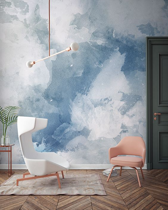 watercolor is a great trend, and this blue and white wall is a very relaxing idea to try