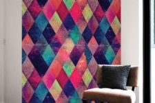 11 a very bold and colroful geometric accent wall done with wall decals