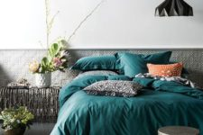 12 an emerald bedding with patterned rust and black pillows for a bold touch